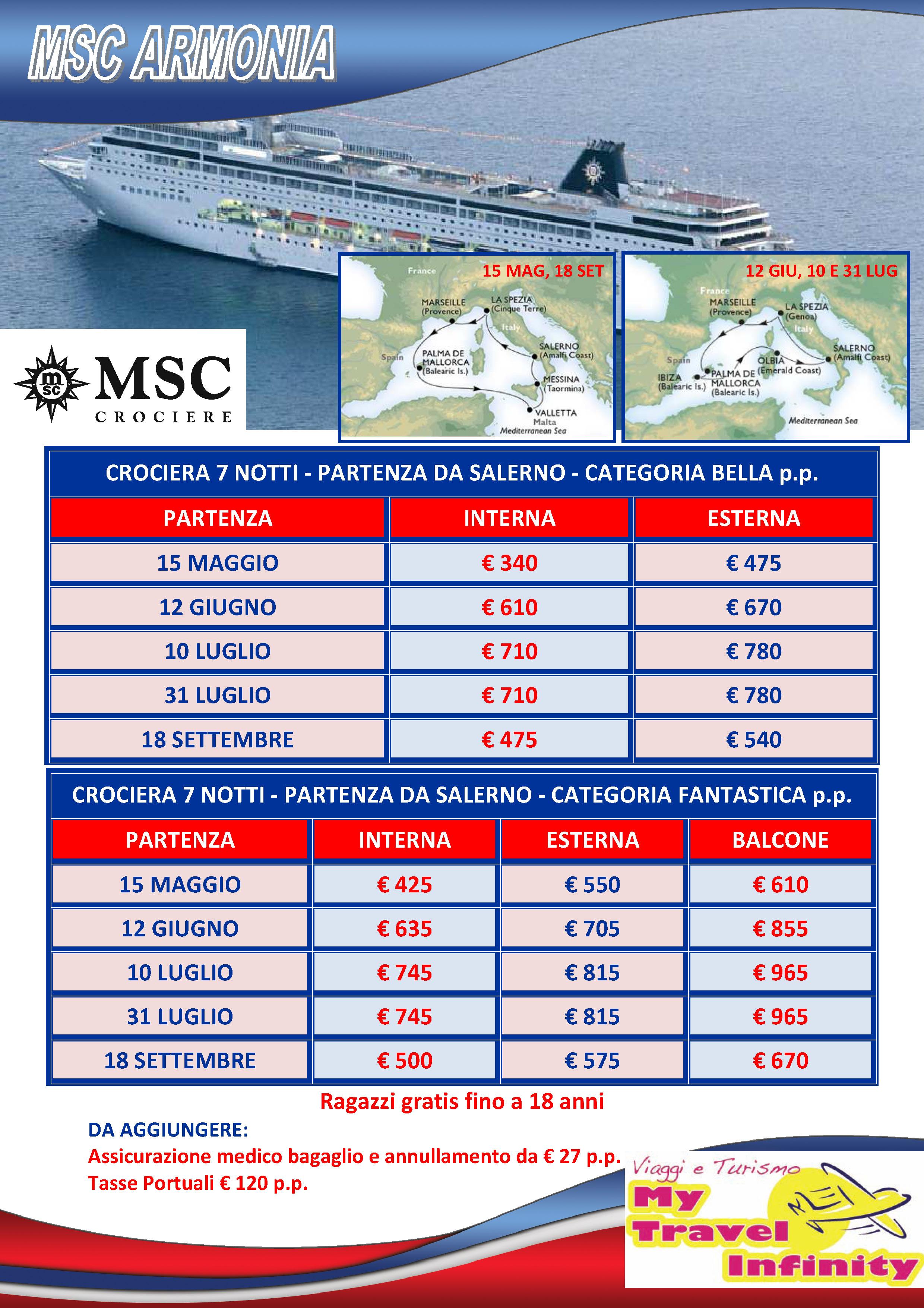 Crociera MSC Armonia 15 Maggio 340 Euro